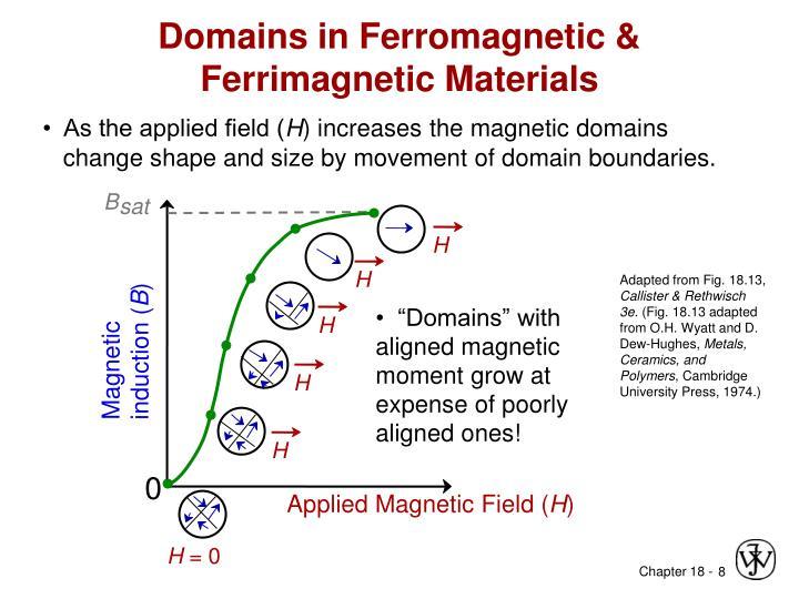 Domains in Ferromagnetic & Ferrimagnetic Materials