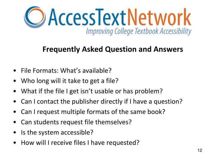 Frequently Asked Question and Answers