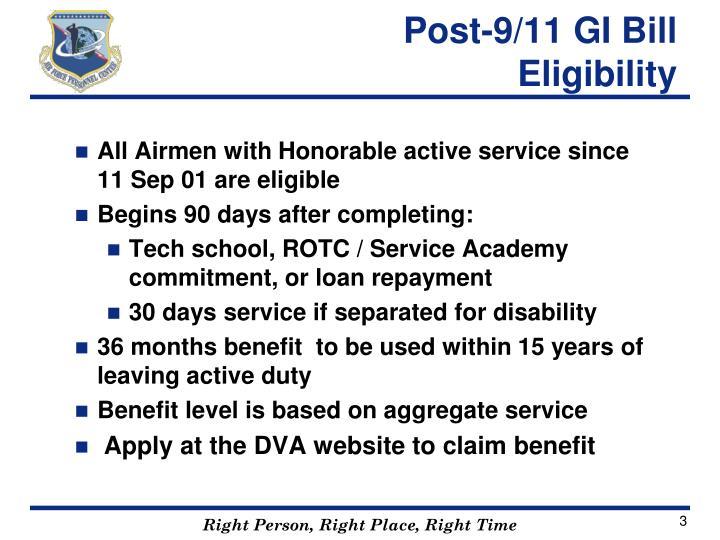 Post 9 11 gi bill eligibility