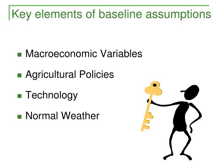 Key elements of baseline assumptions