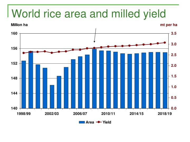World rice area and milled yield