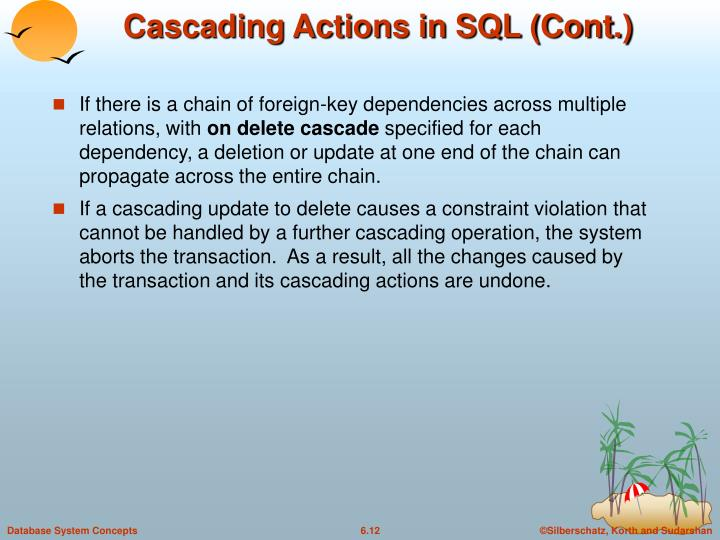 Cascading Actions in SQL (Cont.)