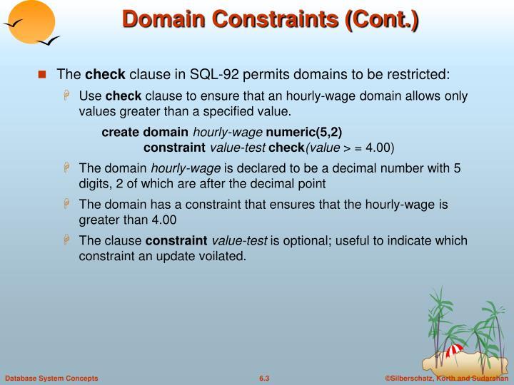Domain constraints cont