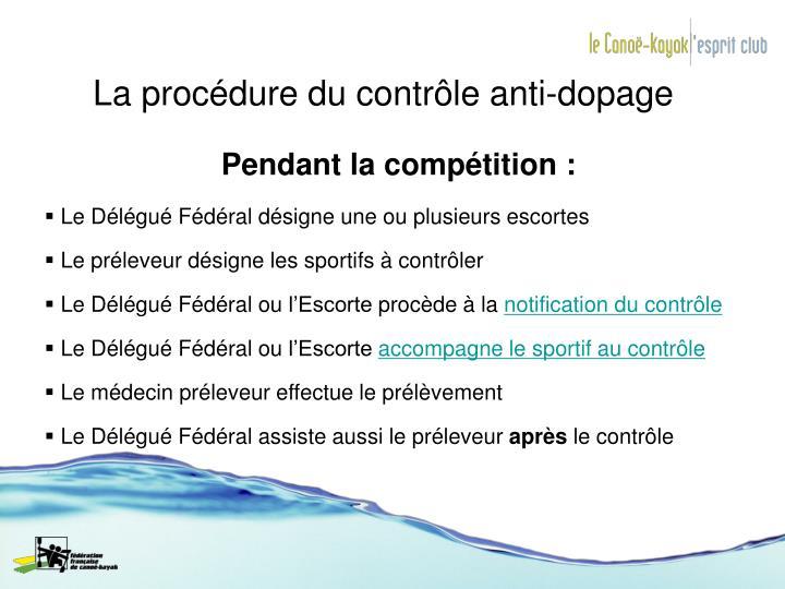 La procédure du contrôle anti-dopage