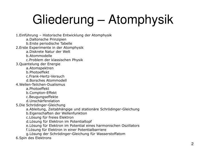 Gliederung atomphysik