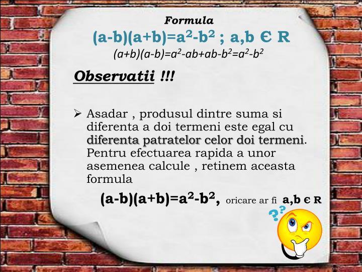 Formula a b a b a 2 b 2 a b r a b a b a 2 ab ab b 2 a 2 b 2