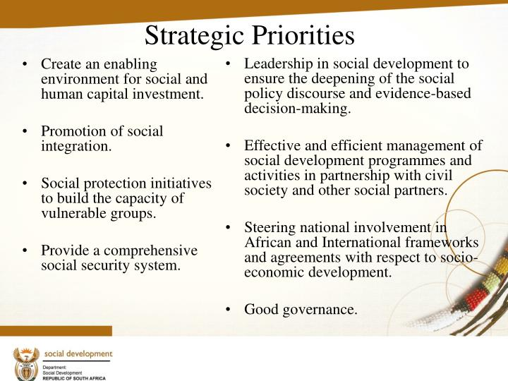 Create an enabling environment for social and human capital investment.