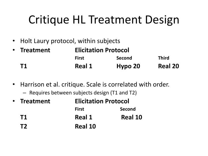 Critique HL Treatment Design