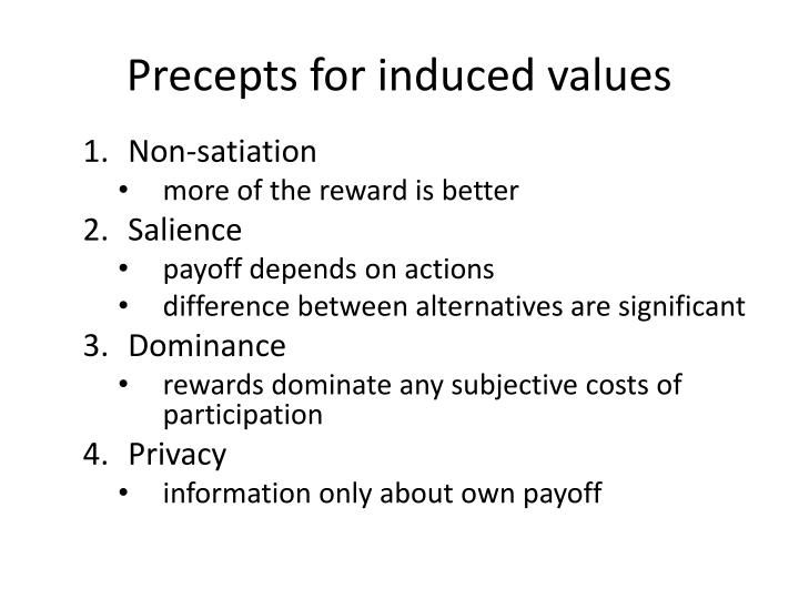 Precepts for induced values