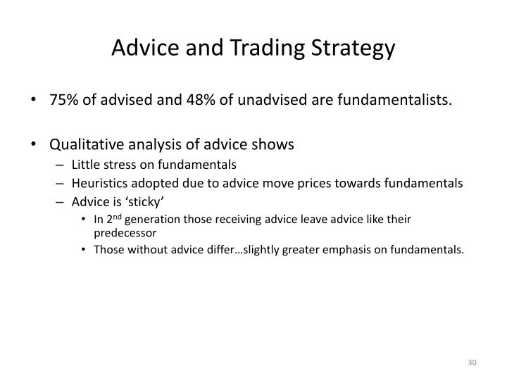 Advice and Trading Strategy