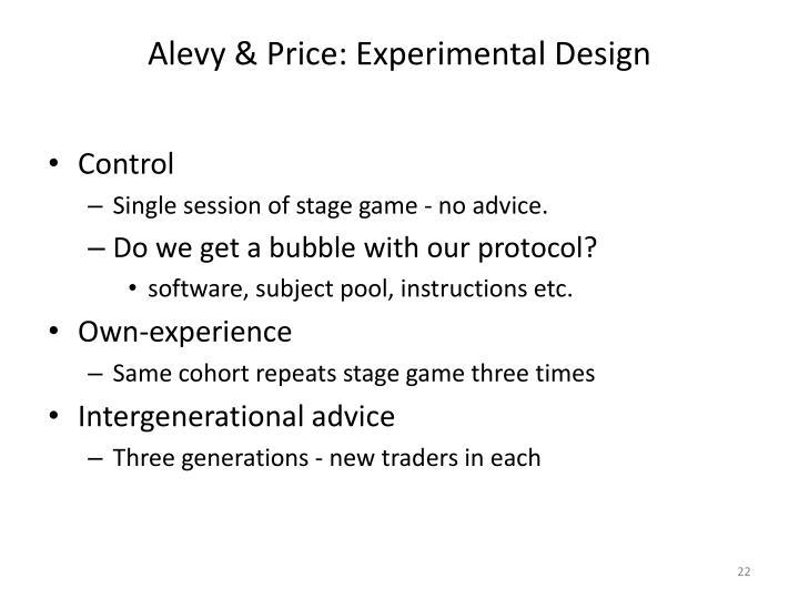 Alevy & Price: Experimental Design