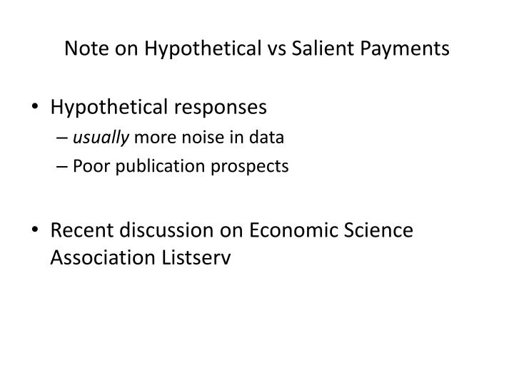 Note on hypothetical vs salient payments