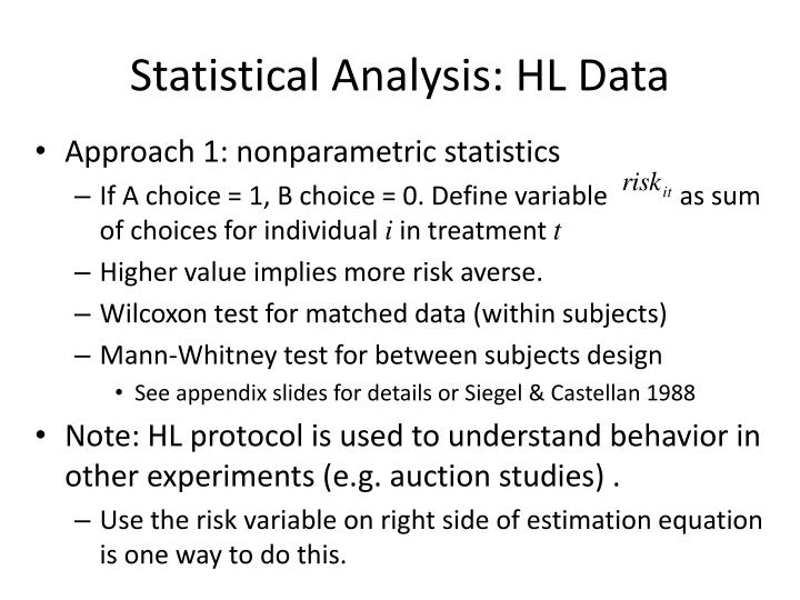 Statistical Analysis: HL Data