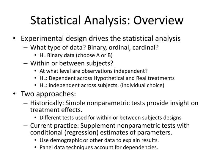 Statistical Analysis: Overview