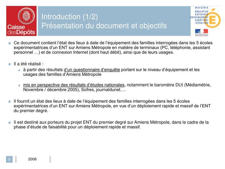 Introduction 1 2 pr sentation du document et objectifs