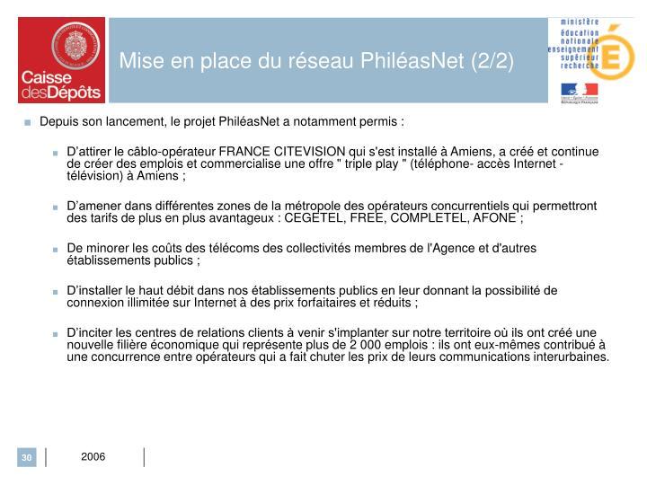 Mise en place du réseau PhiléasNet (2/2)
