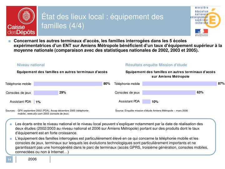 État des lieux local : équipement des familles (4/4)