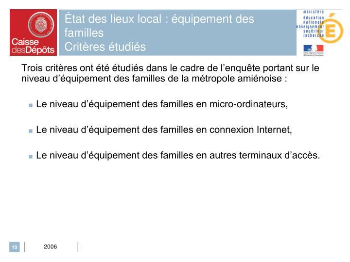 État des lieux local : équipement des familles