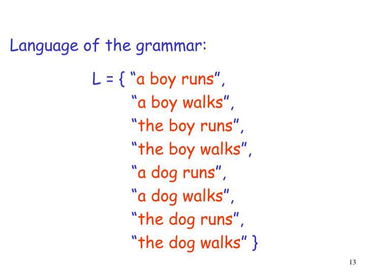 Language of the grammar: