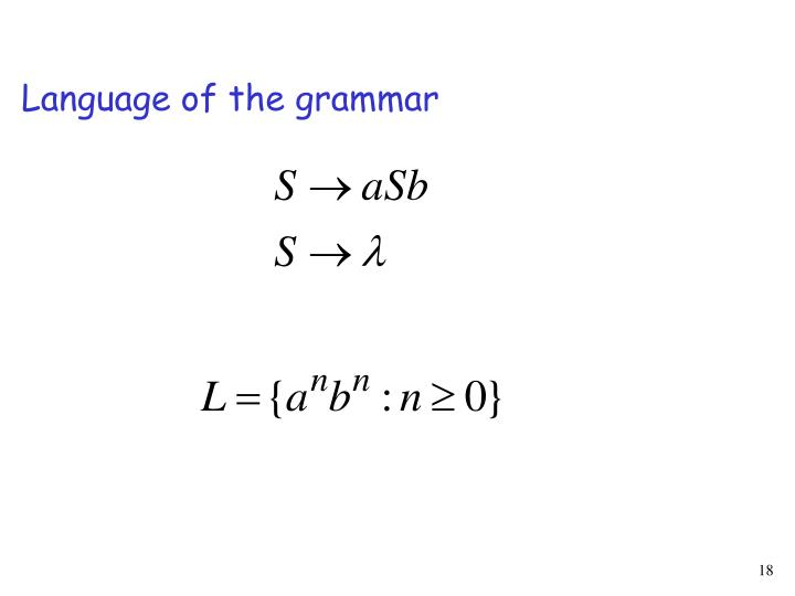 Language of the grammar