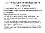 grassroots women participation in slum upgrading