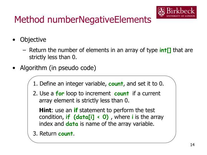 Method numberNegativeElements