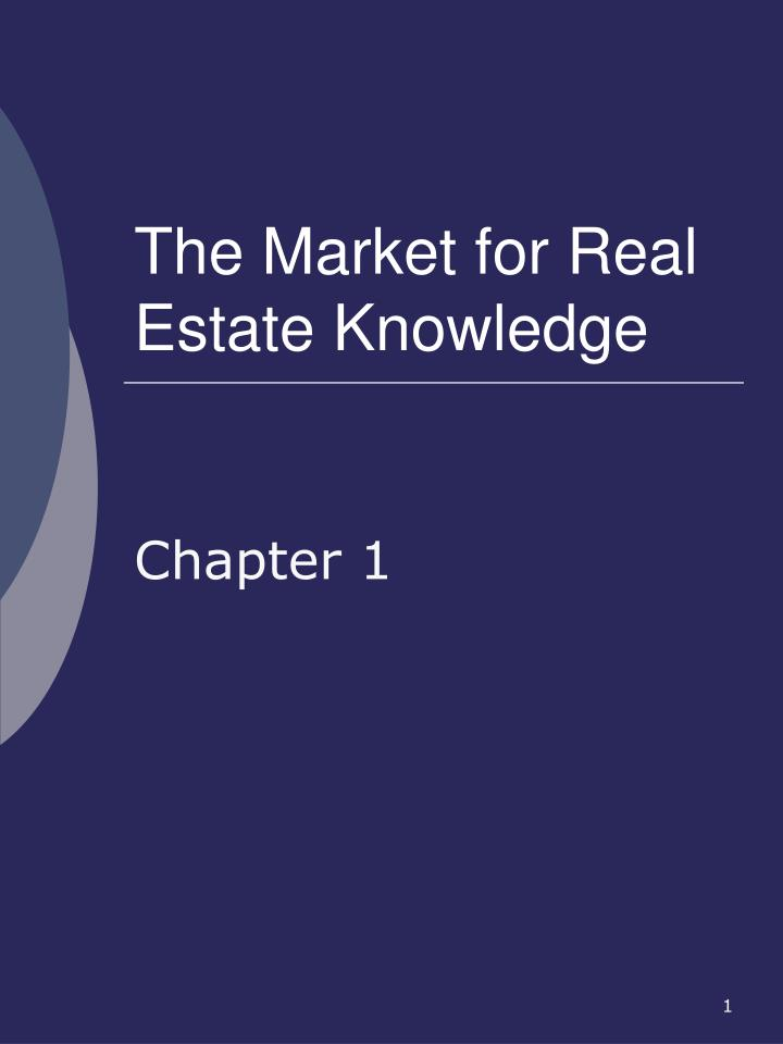 the market for real estate knowledge n.