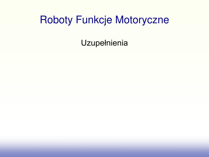 Roboty Funkcje Motoryczne