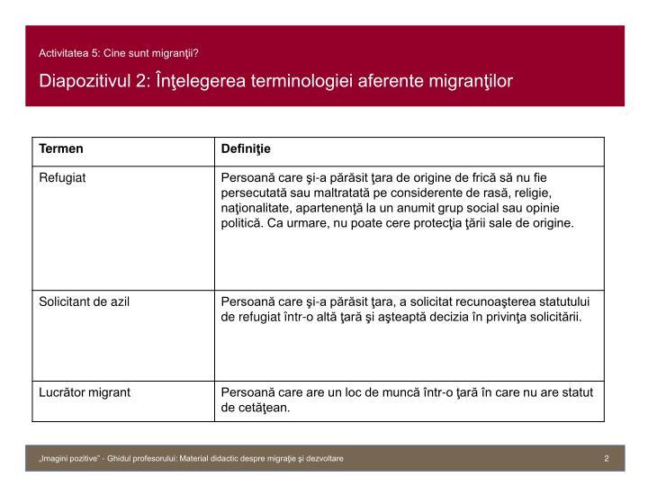 Activitatea 5 cine sunt migran ii diapozitivul 2 n elegerea terminologiei aferente migran ilor