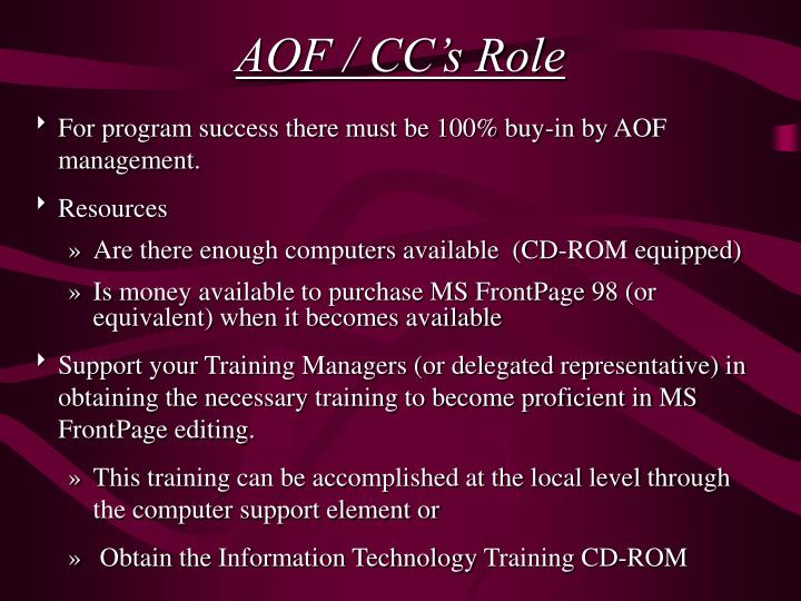 AOF / CC's Role