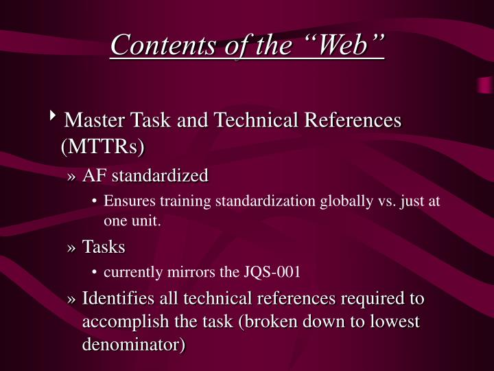 """Contents of the """"Web"""""""