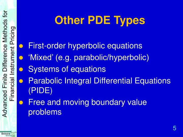 Other PDE Types