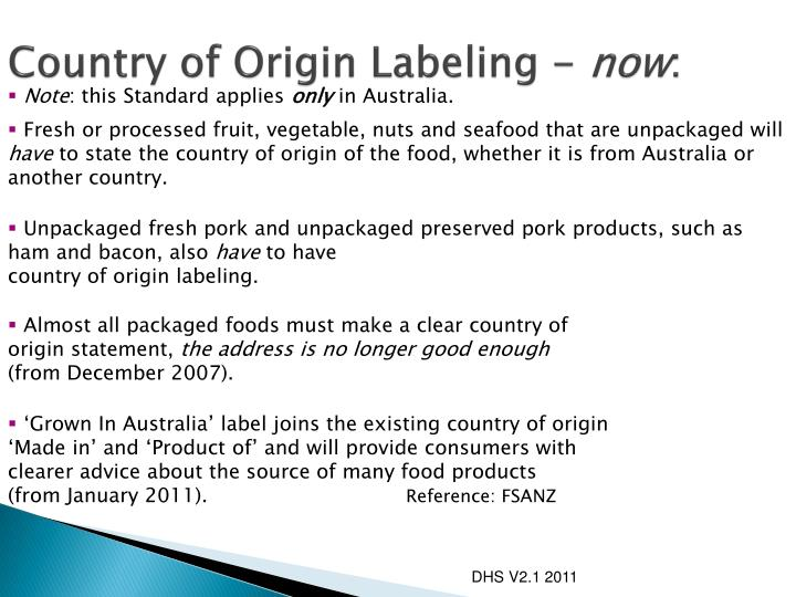 Country of Origin Labeling -