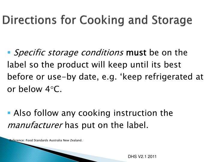 Directions for Cooking and Storage