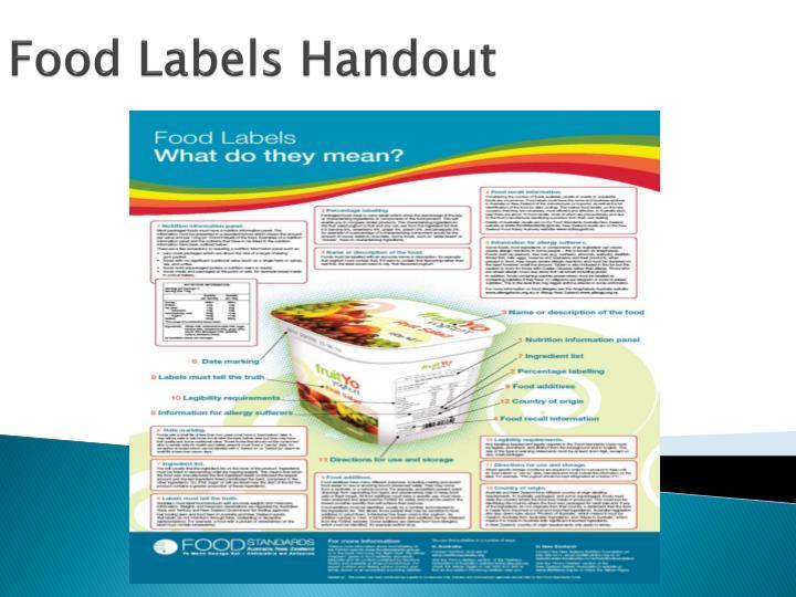 Food Labels Handout