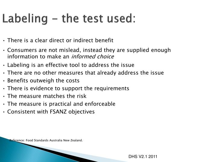 Labeling - the test used: