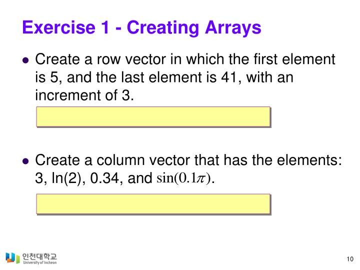 Exercise 1 - Creating Arrays