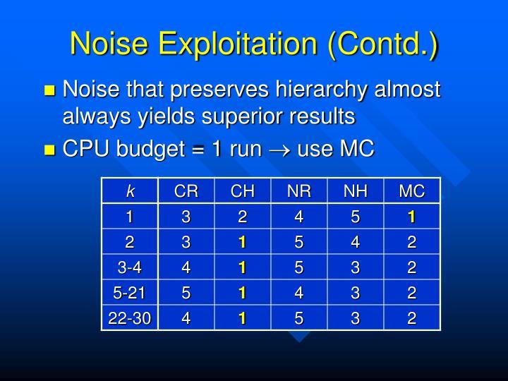 Noise Exploitation (Contd.)