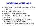 working your gap