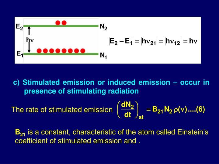 c) Stimulated emission or induced emission – occur in presence of stimulating radiation