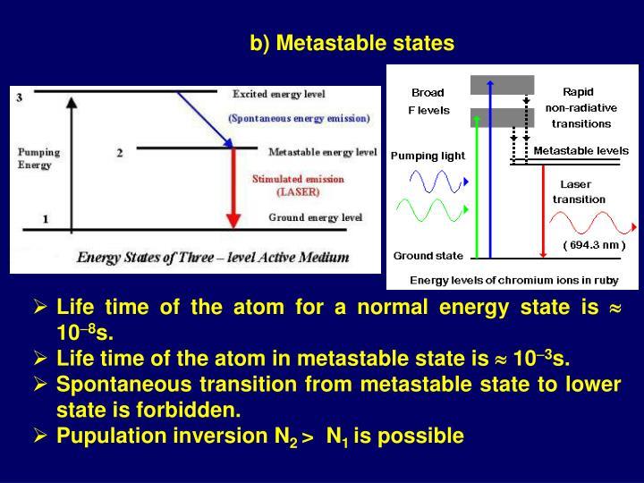 b) Metastable states