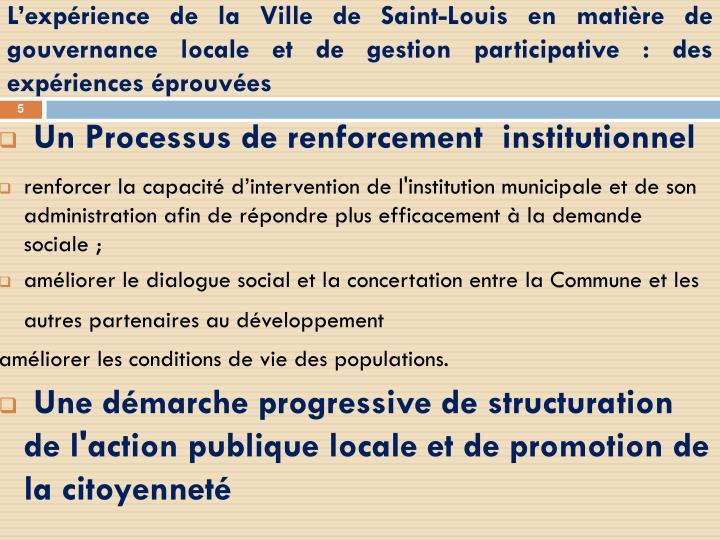 L'expérience de la Ville de Saint-Louis en matière de gouvernance locale et de gestion participative: des expériences éprouvées