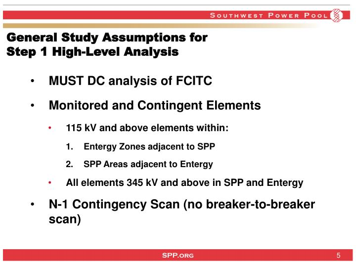 General Study Assumptions for
