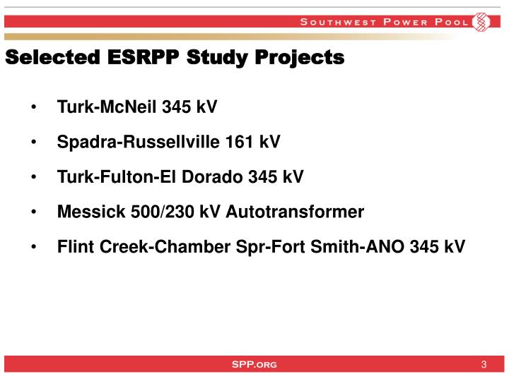 Selected esrpp study projects