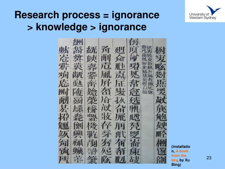Research process = ignorance > knowledge > ignorance