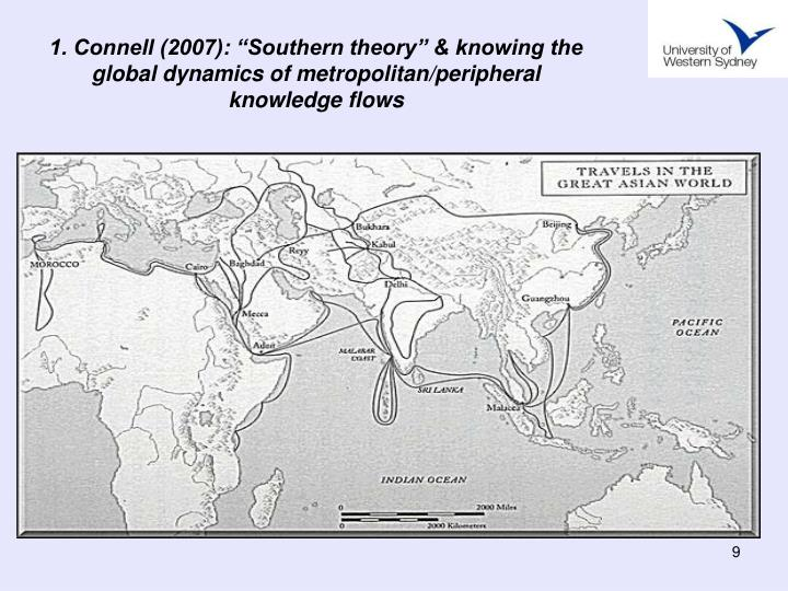 "1. Connell (2007): ""Southern theory"" & knowing the global dynamics of metropolitan/peripheral knowledge flows"