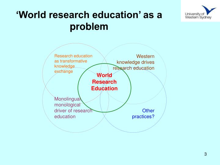 World research education as a problem