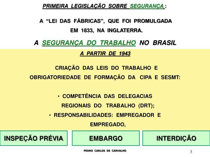 PRIMEIRA  LEGISLAÇÃO  SOBRE
