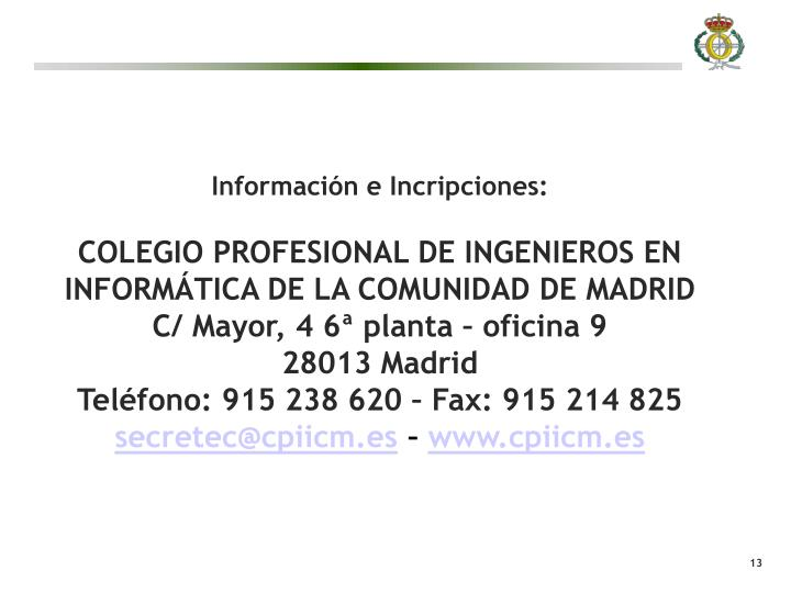 Información e Incripciones: