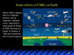 some effects of cmes on earth